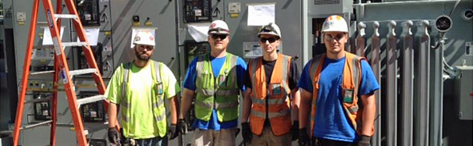 Substation rigging team